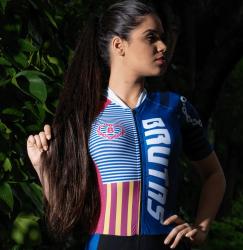 Camisa - Azul  Estilizado-Manga Curta - Camisa de Ciclismo